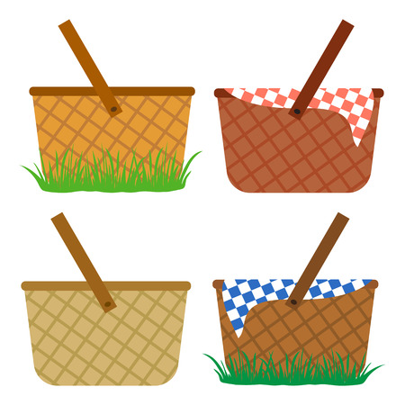 Colored set of wicker baskets on white background.