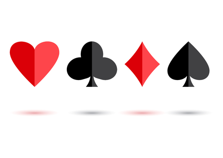 Red and black poker card suits: hearts, clubs, spades and diamonds with colored shadow on white background. Vector illustration Illustration