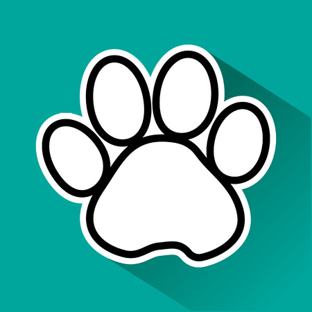 Black and white animal paw track with shadow on green background. Vector illustration