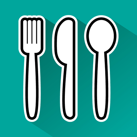 Black and white fork, spoon and knife on green background. Vector illustration
