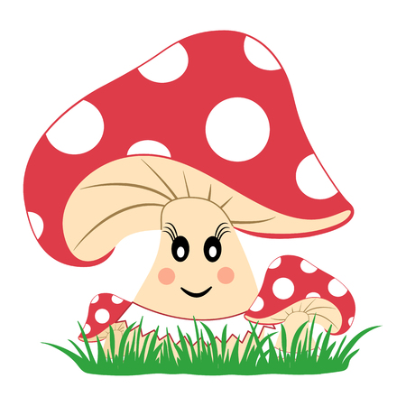 Colorful mushrooms in the grass. Mushroom with emotion. Smiling face. Vector illustration