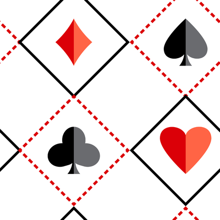 Black and red seamless background with suits of playing cards. Vector illustration Иллюстрация