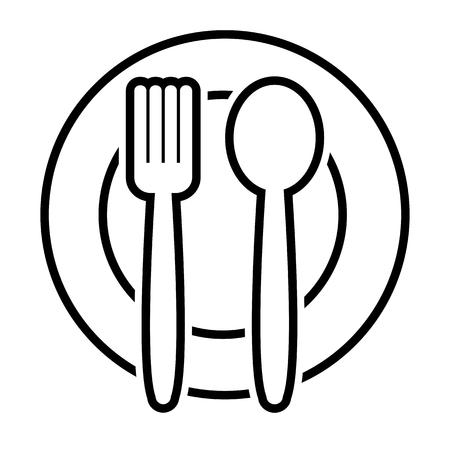 Fork and spoon on plate, outline design. Vector illustration Illustration