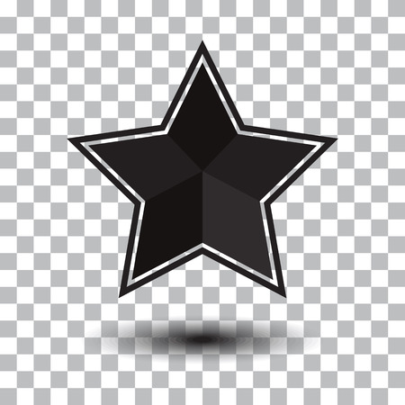 Black star icon with shadow on transparent background. Vector illustration