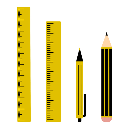 Black and yellow set of two rulers, pen and pencil. Vector illustration