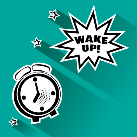 Black and white alarm clock and comic bubble with inscription WAKE UP, and stars, shadow on turquoise background. Vector illustration in pop art style.
