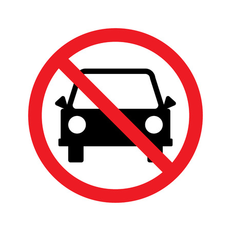 Sign For No Car or No Parking Sign. Vector illustration
