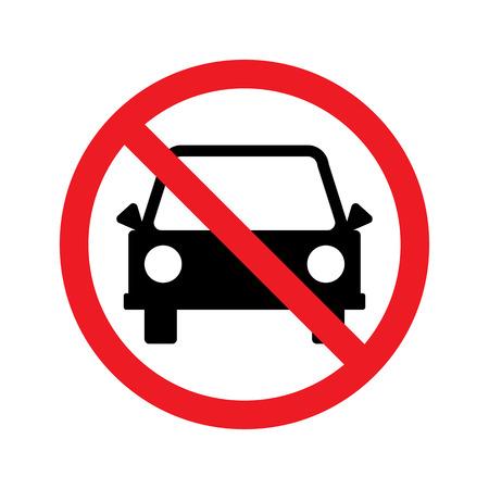 Teken voor geen auto of geen parkeerbord. Vector illustratie