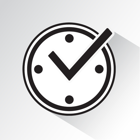 Check mark on clock, real time protection icon with shadow. Black and white vector illustration.