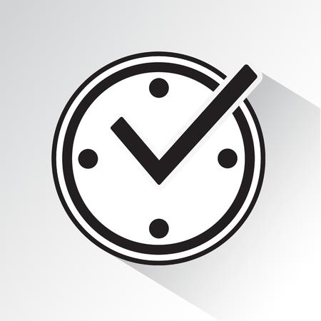 Marca de verificación en el reloj, icono de protección en tiempo real con sombra. Ilustración de vector blanco y negro. Ilustración de vector
