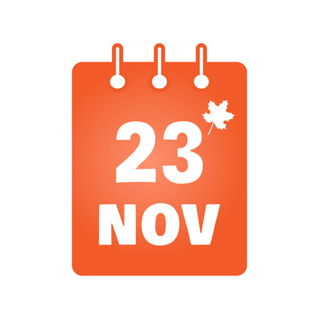 thanksgiving day symbol: November 23 st calendar colored icon with maple leaf. Thanksgiving (USA). Vector illustration