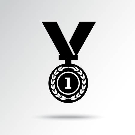 Black and white medal with ribbon, championship with shadow. Vector illustration