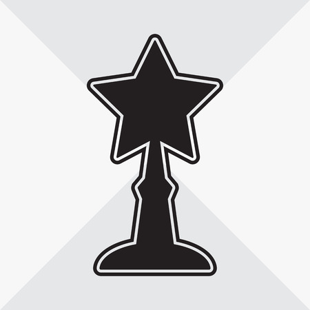 Cup star icon. Black silhouette on gray background. Vector illustration Illustration