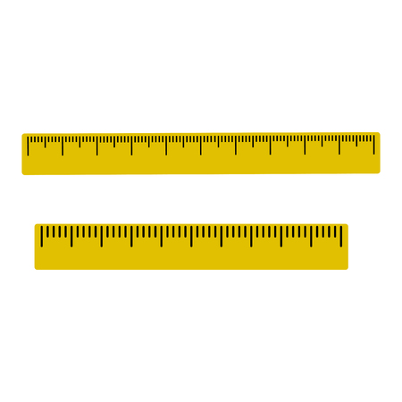 Yellow set of rulers with black markup Vector illustration