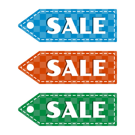 White inscriptions SALE. Colorful set of price tag icon with squared pattern. Isolated object on white background Vector illustration Illustration
