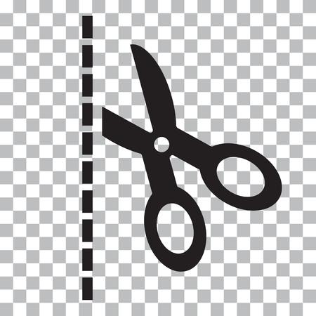 Forbici nere con linee tagliate su sfondo trasparente illustrazione vettoriale Archivio Fotografico - 89037027