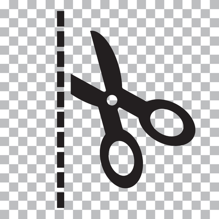 Black scissors with cut lines on transparent background Vector illustration