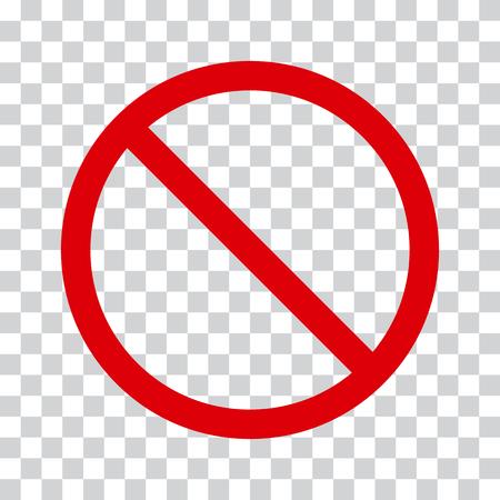 Czerwona ikona stop na przezroczystym tle. Brak symbolu ilustracji wektorowych Ilustracje wektorowe