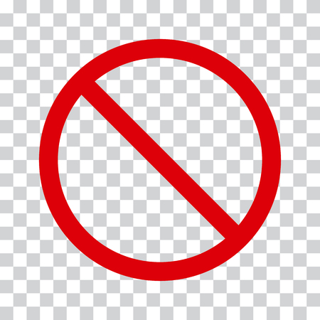 Rood stoppictogram op transparante achtergrond. Geen symbool Vectorillustratie Stockfoto - 89037069