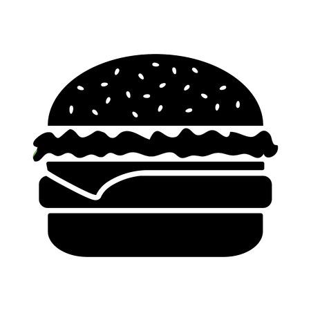 Black and white cheeseburger isolated on white background Vector illustration Illustration