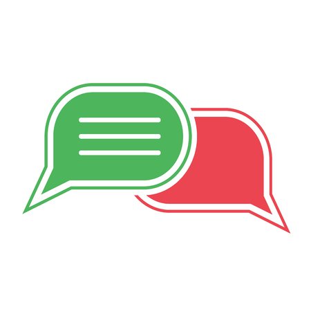 Green and red chat icon. Set of dialog clouds Vector illustration Vectores