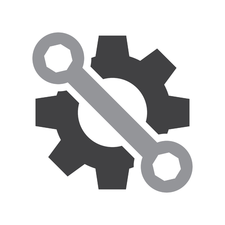 Setting tools icon. Black and gray objects. Vector illustration