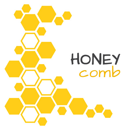 Abstract background with yellow honeycomb vector illustration
