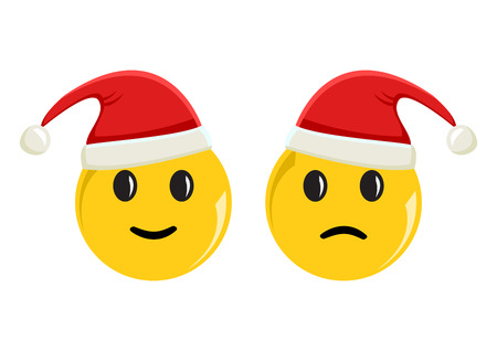 Smileys emoticons icon in new year hats positive and negative moo vector illustration Illustration