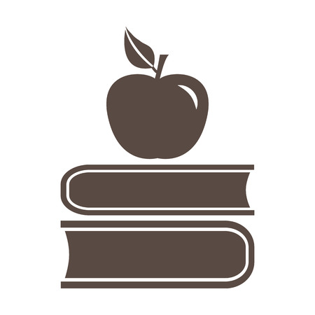Book and apple, brown, and white icon vector illustration