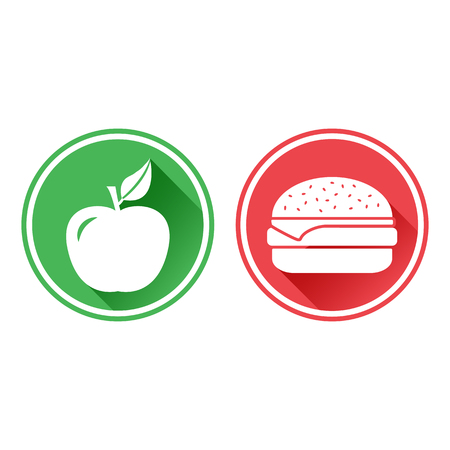 Green and red buttons of white apple and cheeseburger icon. The choice between unhealthy food and healthy food vector illustration