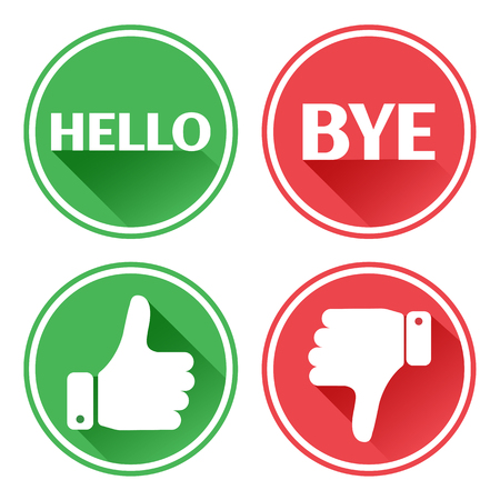 Red and green set buttons hello and bye, thumb up and down vector illustration