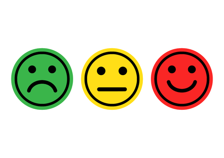 Green, yellow, red smileys emoticons icon positive, neutral and negative, different mood vector illustration Çizim