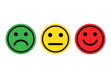 Positive, neutrale und negative, unterschiedliche Stimmungsvektorillustration der grünen, gelben, roten smiley Emoticonsikone Vektorgrafik