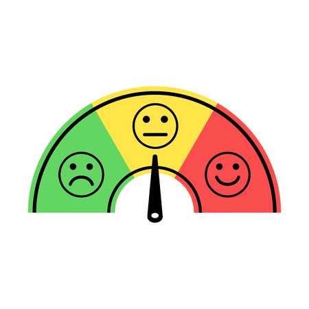 Scale with arrow from green to red and smileys. Colored scale of emotions. Measuring device icon sign vector illustration