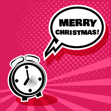 Alarm Clock With White Comic Bubble With Merry Christmas Word
