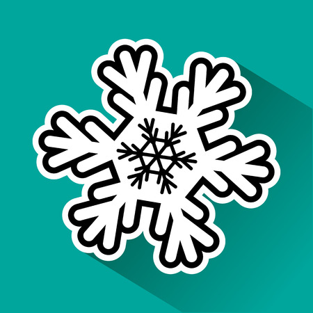 Black and white snowflake with shadow on turquoise illustration.