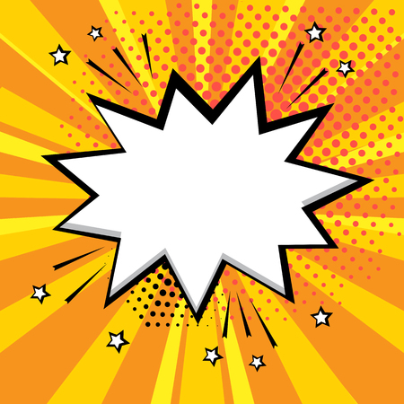 White comic bubble on orange background. Comic sound effects in pop art style. Vector illustration. Illusztráció