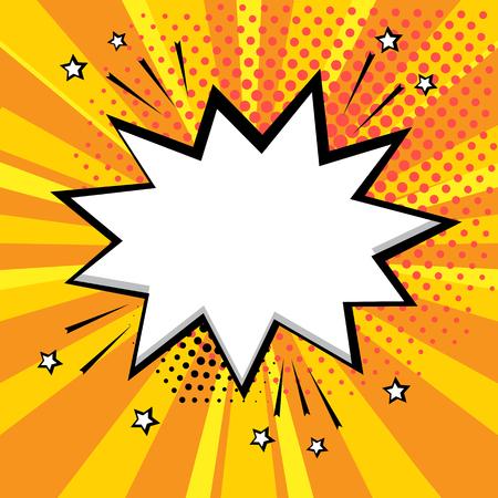Witte komische zeepbel op oranje achtergrond. Komische geluidseffecten in pop-artstijl. Vector illustratie