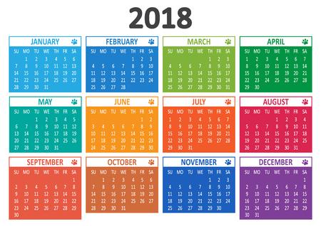 Calendar 2018, template. Vector illustration 일러스트