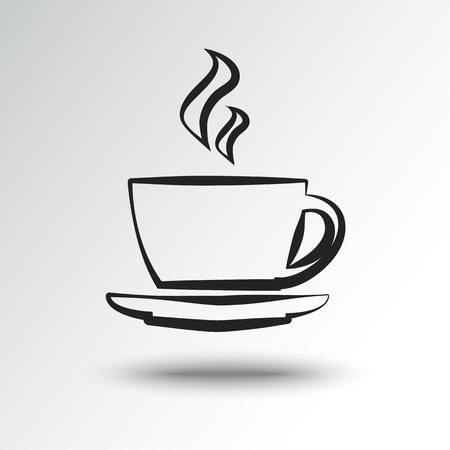 Cup of hot drink, outline design. Vector illustration Illustration