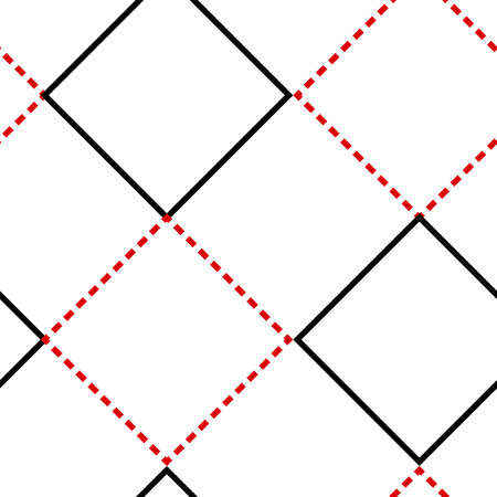 Geometric seamless pattern with red and black square on white background, outline design. Vector illustration.