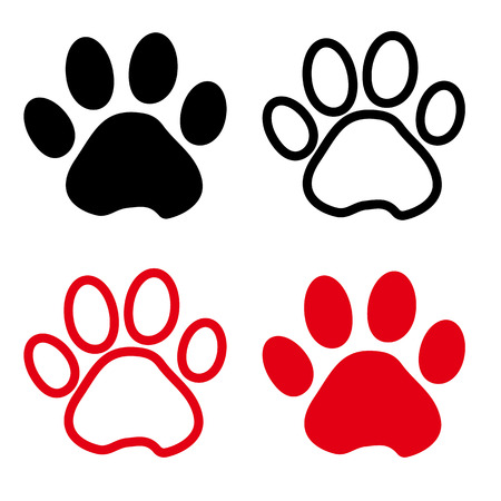 Colorful set of silhouette animal paw track. Outline and flat design. Vector illustration.  イラスト・ベクター素材
