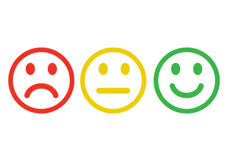 Red, yellow, green smileys emoticons icon negative, neutral and positive, different mood. Outline design. Vector illustration. Vettoriali