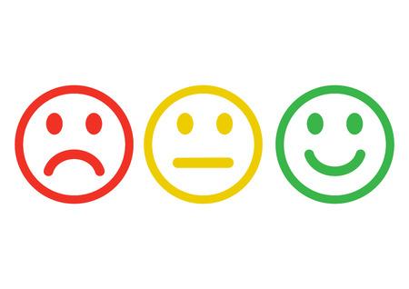 Rote, gelbe, grüne Smileys Emoticons Symbol negativ, neutral und positiv, andere Stimmung. Umriss-Design. Vektor-illustration