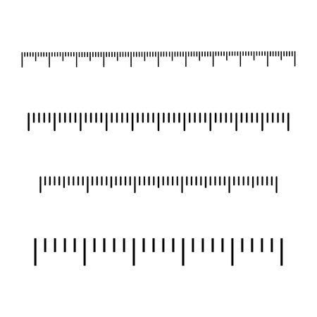 Black scale, markup for rulers. Different units of measurement. Vector illustration.