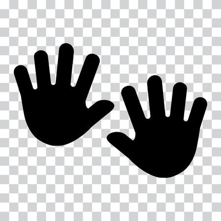 Hands, palms. Black silhouette on transparent background. Vector illustration.