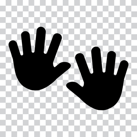 Hands, palms. Black silhouette on transparent background. Vector illustration. Reklamní fotografie - 92510328