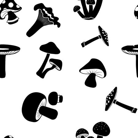 Seamless pattern, black mushrooms on a white background. Vector illustration