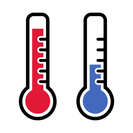 Thermometer icons in red and blue colors for hot and cold weather. Vector illustration Illustration