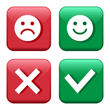 Set red and green icons buttons. Smileys emoticons positive and negative. Confirmation and rejection. Yes and no. Vector illustration. Vectores